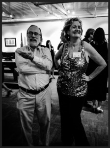 Q Media writer/director Peg O'Keef hobnobbing with Paul Eisenhauer, Director of the Wharton Esherick Museum.